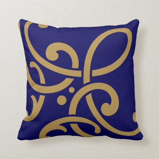 Modern gold scrolls on navy blue throw pillow