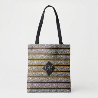 Modern Gold SILVER Black Glitter Monogrammed Tote Bag