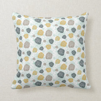 Modern Gold Slate Peony Pattern Throw Pillow