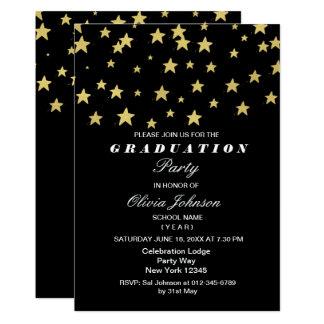 Modern Gold Stars Graduation Party Card