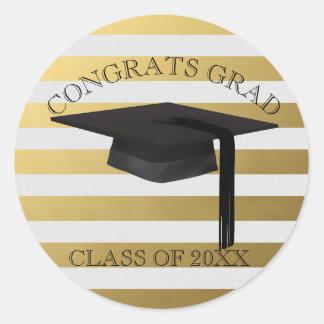Modern Gold Stripe Graduation Cap Sticker