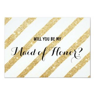 """Modern gold stripe Will you be my Maid of Honor 3.5"""" X 5"""" Invitation Card"""