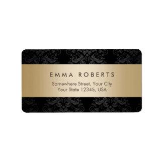Modern Gold Striped Elegant Black Damask Label