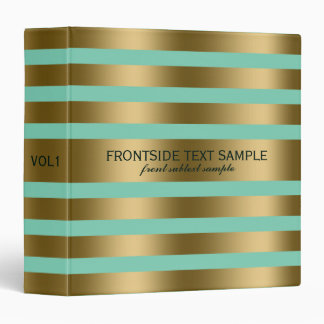 Modern Gold Stripes Mint-Green Background 3 Ring Binder