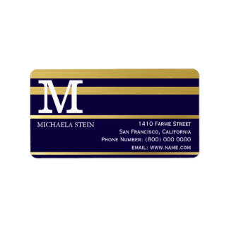 modern gold stripes on blue monogrammed