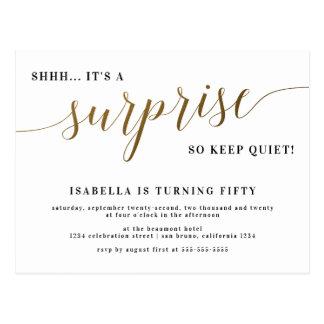 Modern Gold Stylish Script Surprise Birthday Party Postcard