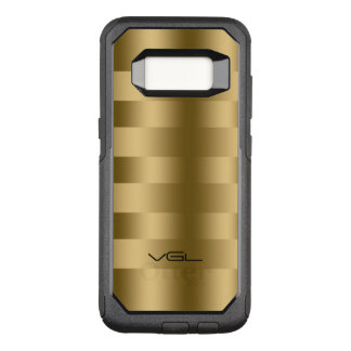 Modern Gold Texture Stripes Geometric Pattern OtterBox Commuter Samsung Galaxy S8 Case