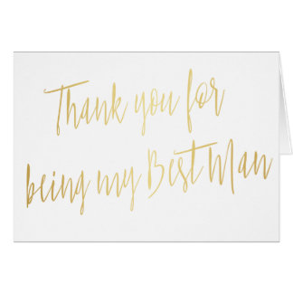 """Modern Gold """"Thank you for being my best man"""" Card"""