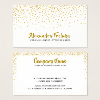 Modern Gold Tones Dots over white background Business Card