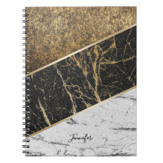 Modern Gold Trendy Black & White Marble Texture Notebook