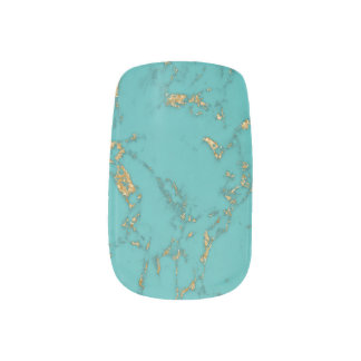 Modern Gold & Turquoise Marble Minx Nail Art