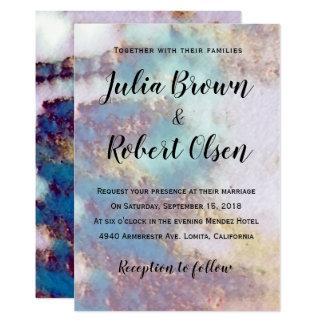 Modern Gold & Turquoise Marble Wedding Invitation