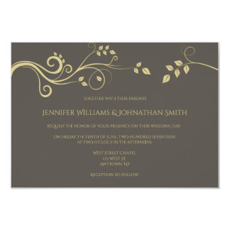 Modern gold vines wedding invitations