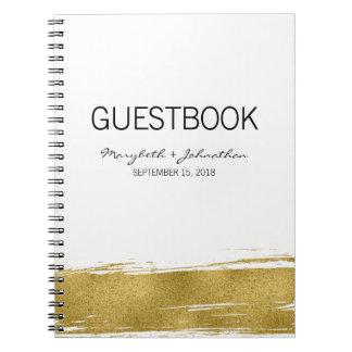 Modern Gold Wedding Guest Book Notebook