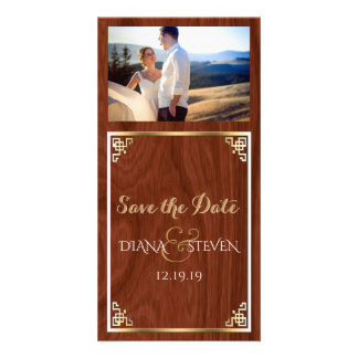 Modern Gold Wedding Save the Date Chic Wood Look Photo Cards