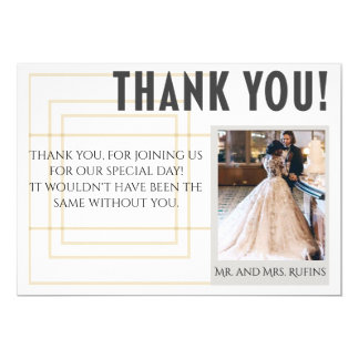"Modern Gold Wedding Thank You Card 5"" X 7"" Invitation Card"