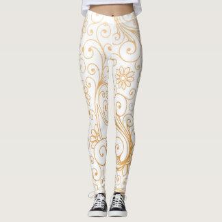 Modern gold white swirl artsy pattern leggings