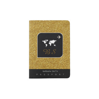 modern gold world travel passport cover with name