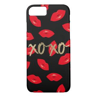 Modern Gold XOXO Red Lips Pattern Black iPhone 8/7 Case
