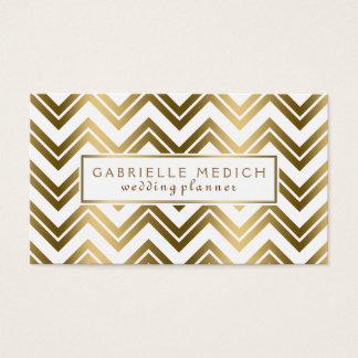 Modern Gold Zigzag Chevron Wedding Planner Business Card