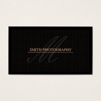 Modern Golden Dots Photography Black Business Card