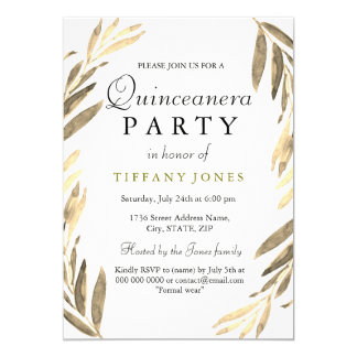 Modern Golden Gold Leaf Quinceanera Party Invite