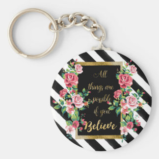 Modern golden inspirational  quote keychain