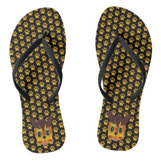 Modern Golden Paws Flip Flops