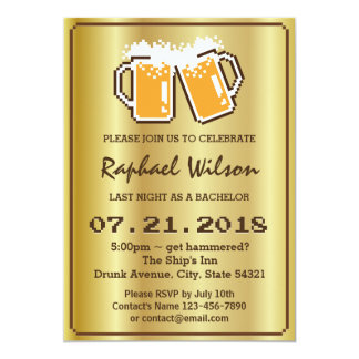 """Modern Golden Pixel Beers Bachelor Party Card 5"""" X 7"""" Invitation Card"""