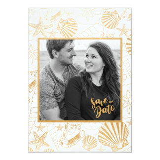 Modern Golden Shell Photo Save the Date Card