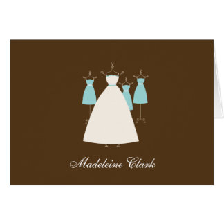 Modern Gown Bridal Shower Thank You Card Turquoise