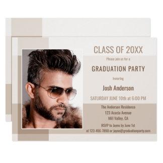 Modern Grad Guy Minimalist Photo Party Invitation