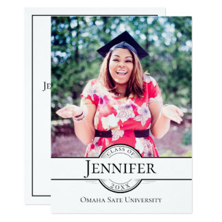 Modern Grad Photo Classic Graduation Card