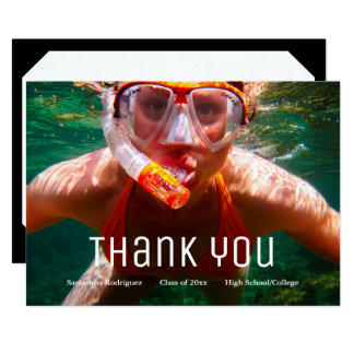 Modern Grad Photo Graduation Thank You Card