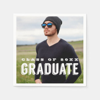 Modern Grad Photo Personalized Graduation Paper Napkin