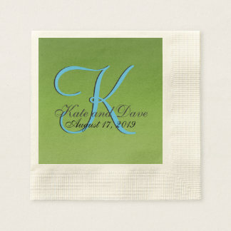 Modern Gradient 3d Monogram Green Lime Disposable Napkin