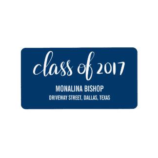 Modern Graduate Class Of 2017 Typography Navy Blue