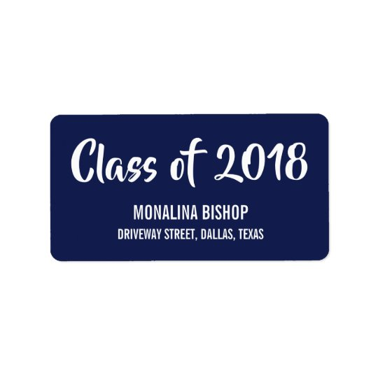 Modern Graduate Class Of 2018 Typography Navy Blue Label