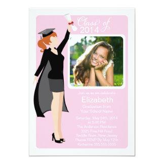 "Modern Graduate Girl Photo Graduation Party Invite 5"" X 7"" Invitation Card"