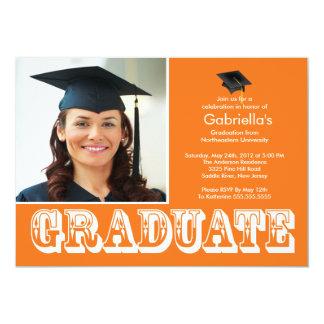 Modern Graduate Orange Photo Graduation Party Custom Invite