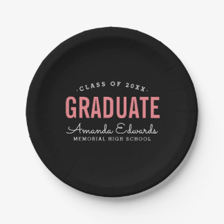 Modern Graduate Personalized Graduation Party Paper Plate
