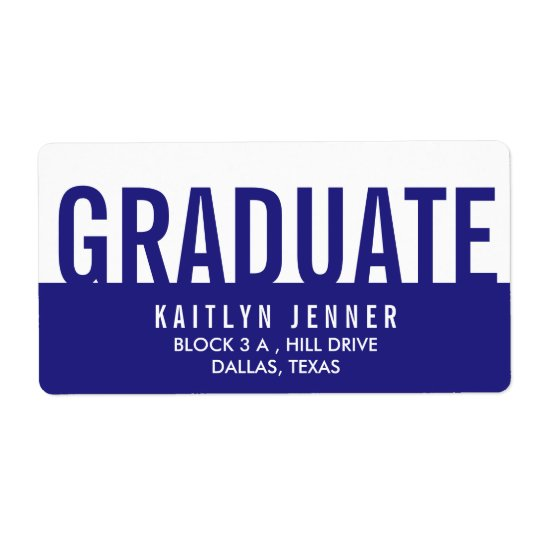 Modern Graduate Typography Navy Blue And White