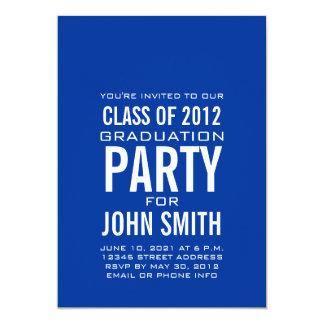 Modern Graduation Party Invitation Blue White
