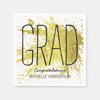 MODERN GRADUATION PERSONALIZED FAUX GOLD PAPER NAPKINS
