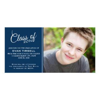 Modern Graduation Photo Announcement - Navy Blue Custom Photo Card