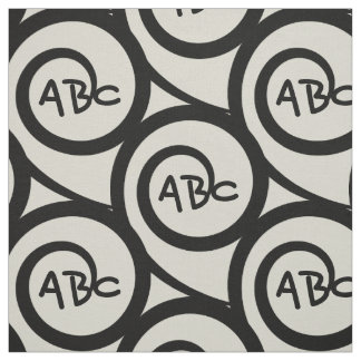 Modern Graffiti Monogram Spiral Pattern Fabric
