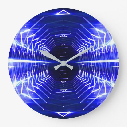 Modern Graphic Abstract Cool Glowing Vortex, Blue Clock