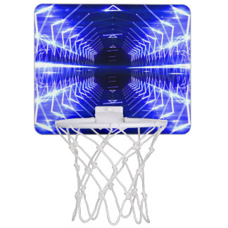 Modern Graphic Abstract Cool Glowing Vortex, Blue Mini Basketball Hoop