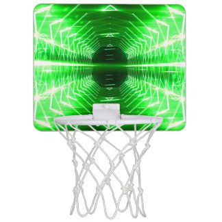 Modern Graphic Abstract Cool Glowing Vortex, Green Mini Basketball Hoop