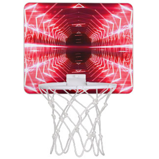 Modern Graphic Abstract Cool Glowing Vortex, Red Mini Basketball Hoop